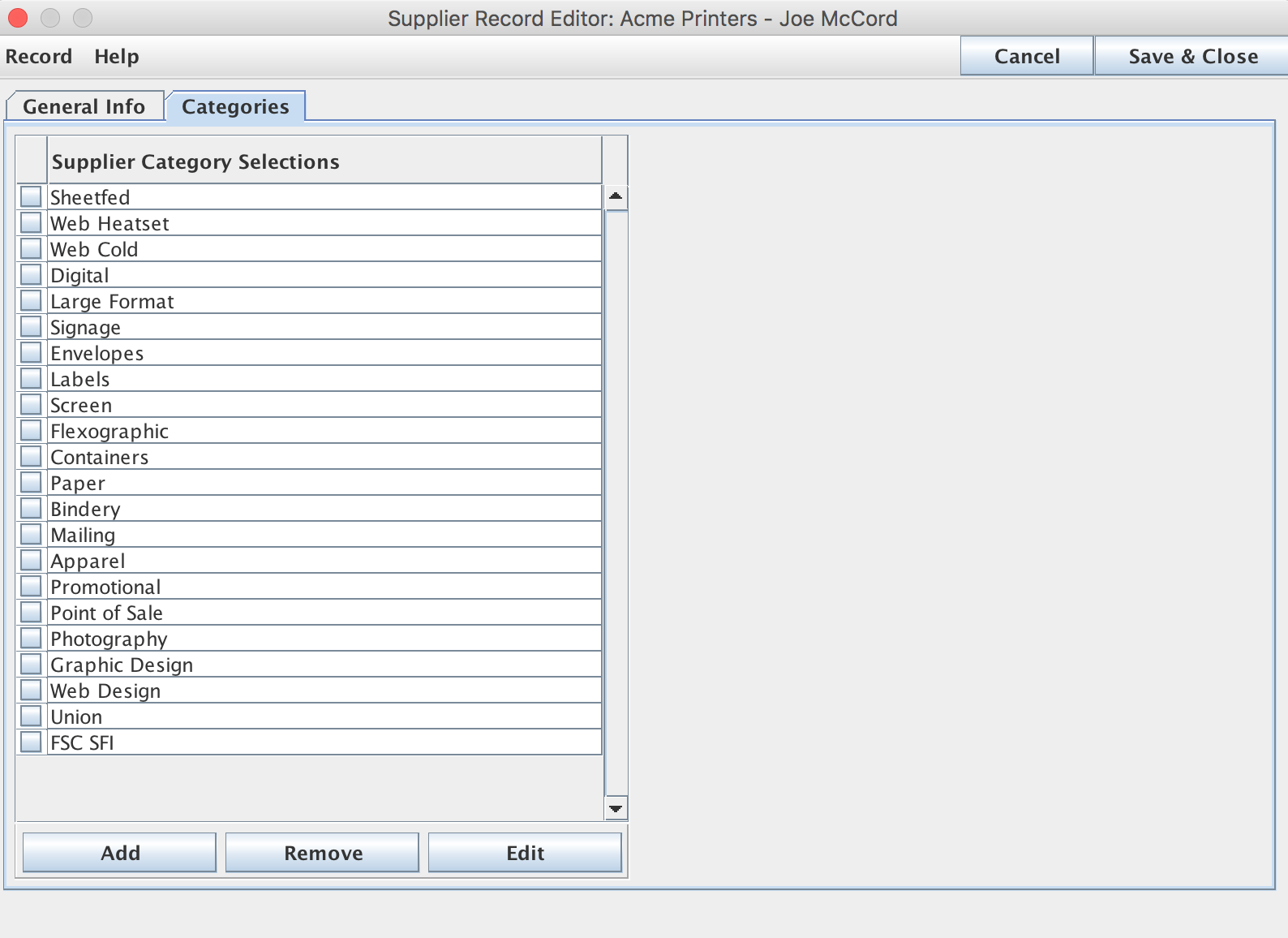 Categories Tab on the Supplier Record Editor