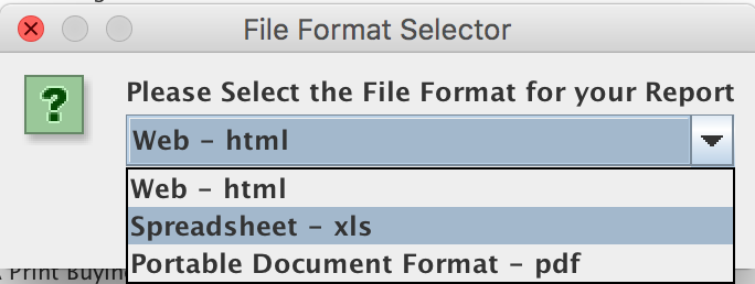 File Selector Format Window