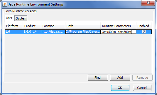 Setting the Java Runtime Parameters