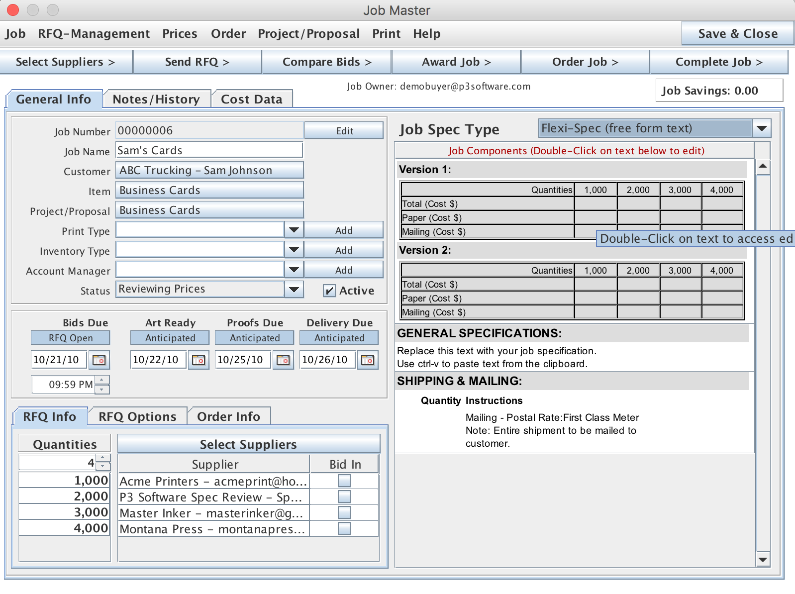 Job Master screen showing multiple versions and cost breakouts for an RFQ