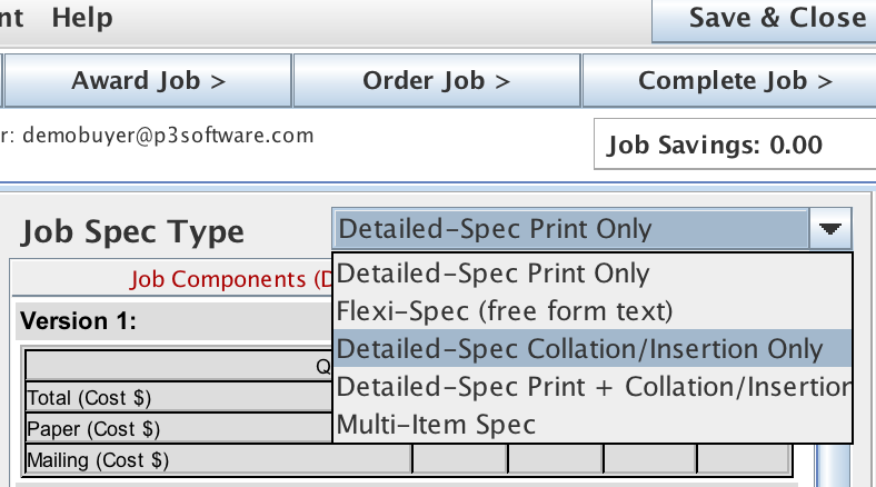 Available configurations for the Detailed Spec on the Job List panel from the Job Master screen.