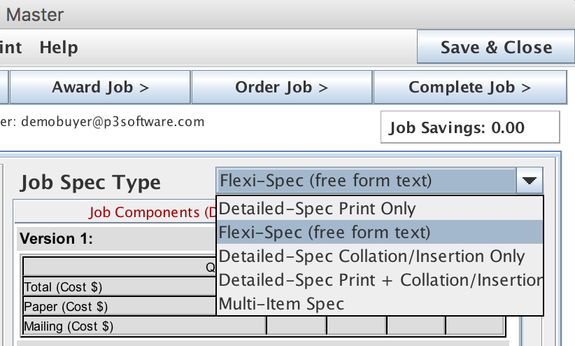 Flexi-Spec from the drop list under the Job Spec Type