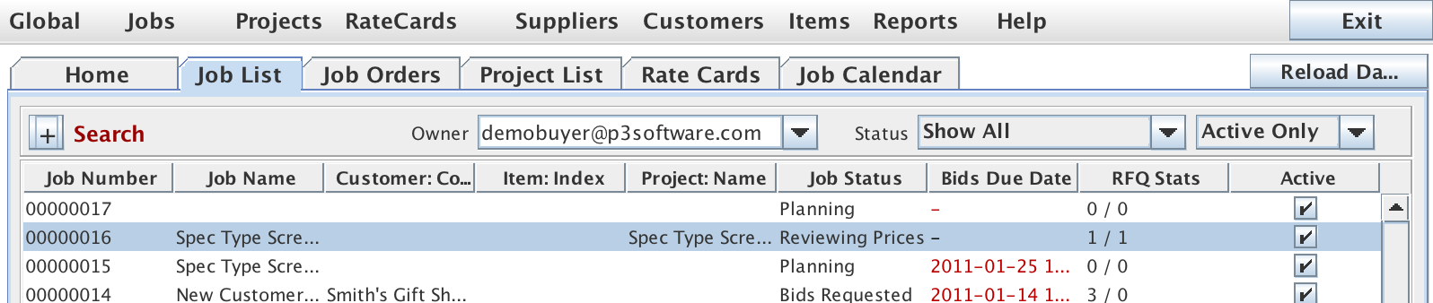 Job List panel showing the Job List tab