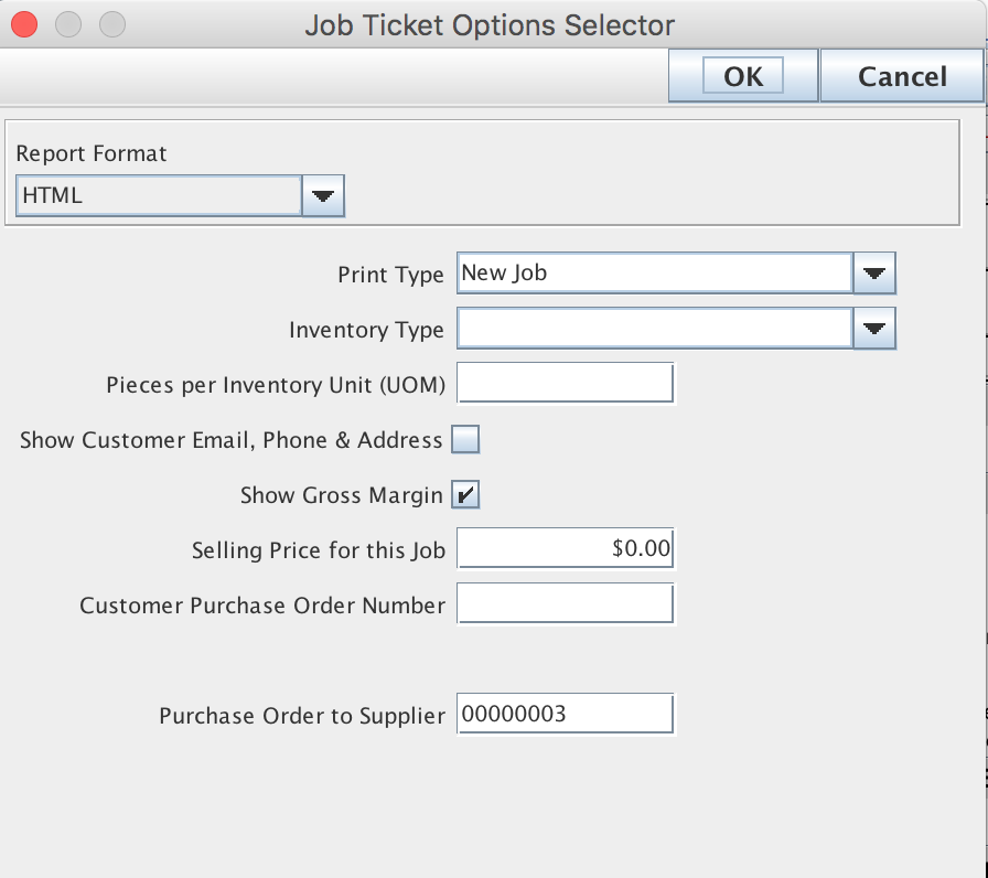 Job Ticket Options Selector