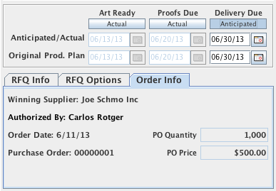The dates section and Order Info tab of the Job Master Window after the job is set to Ordered