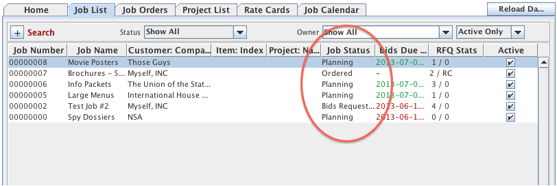 Job list menu with Job Status highlighted