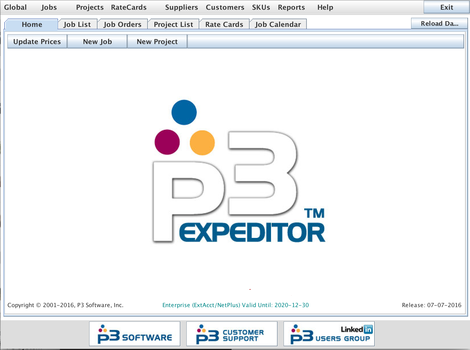 The P3Expeditor Main Application Window