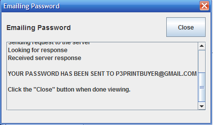 Emailing Password popup window from the My Settings window