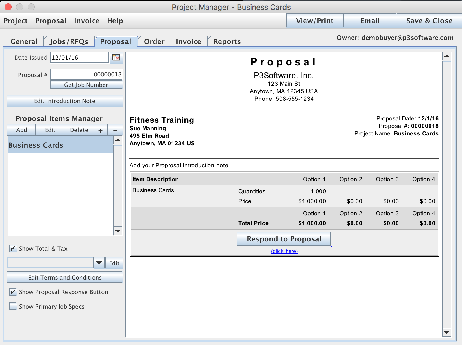 Proposal Tab within the Project Manager