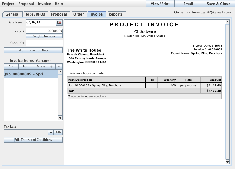 The Invoice tab of the Project Manager