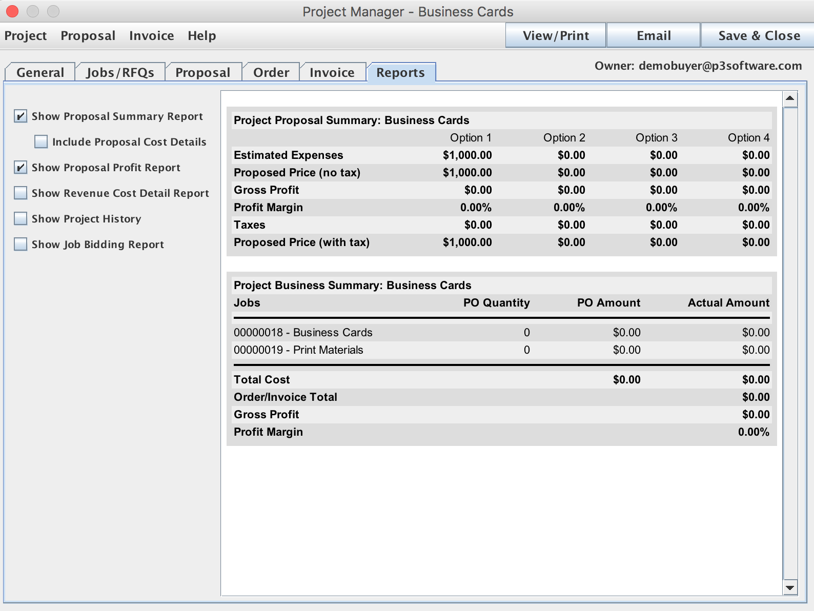 Project Window with Reports pane