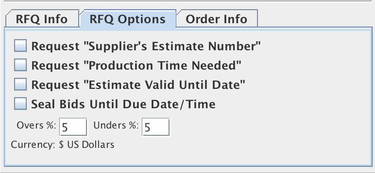 RFQ Options Panel located in the lower left corner of the Job Master window, General Info tab pane