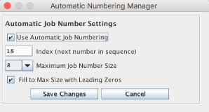 Automatic Numbering Manager Window