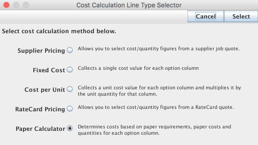 Select cost calculation method window