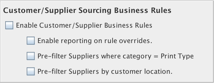 Customer/Supplier Sources Business Rules in the Jobs and Projects tab in the Enterprise Settings Window