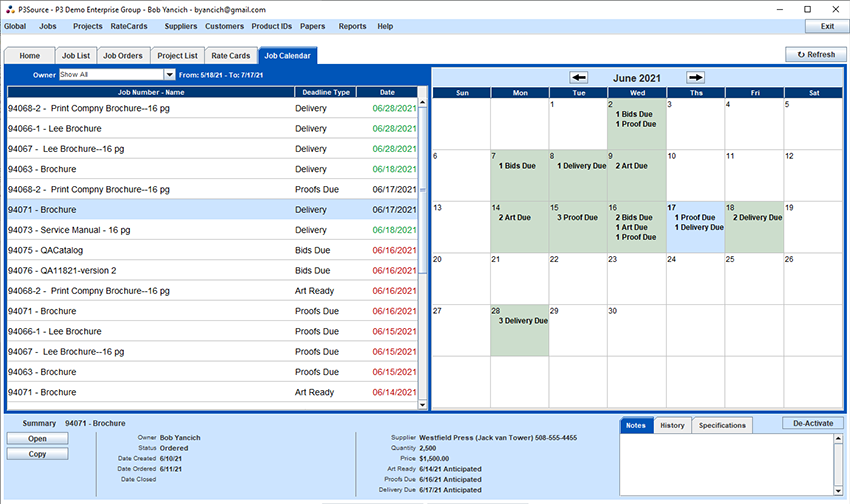 "Main Application Window, with the ""Job Calendar"" window showing"