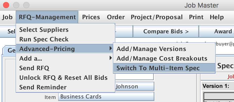 Advanced Pricing options shown from the Job menu on the Job Master window