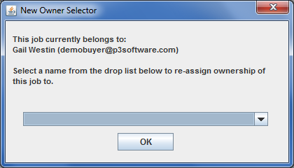 "New Owner Selector window from the Job Master window / Job menu / ""Change Owner"" menu item"
