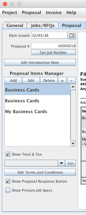 Proposal Controls shown on the Project Manager window