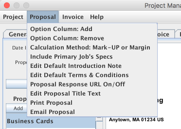 Proposal Menu Items shown on the Project Manager window