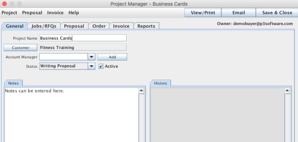Project Manager window shown from the Job List panel / Job Master window / Proposal menu