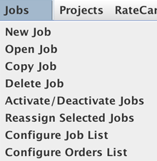 Jobs dropdown menu