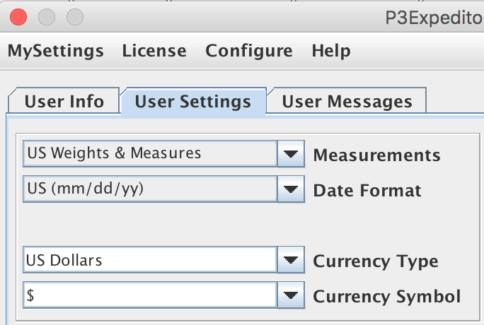 Measurements panel from the User Settings tab in the My Settings window