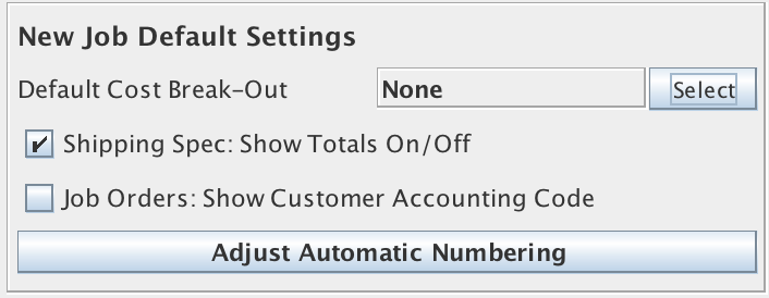 New Job Default Settings panel in the Jobs and Projects Tab of the Enterprise Settings Window