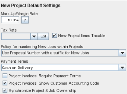 New Project Default Settings panel in the Jobs and Projects Tab of the Enterprise Settings Window