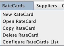 RateCards dropdown menu