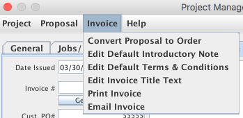 Invoice menu items shown from the Job Master window / Proposal menu / Project Manager window