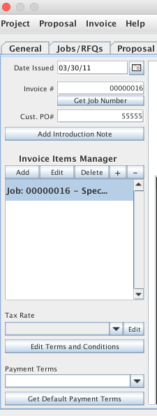 Invoice builder controls