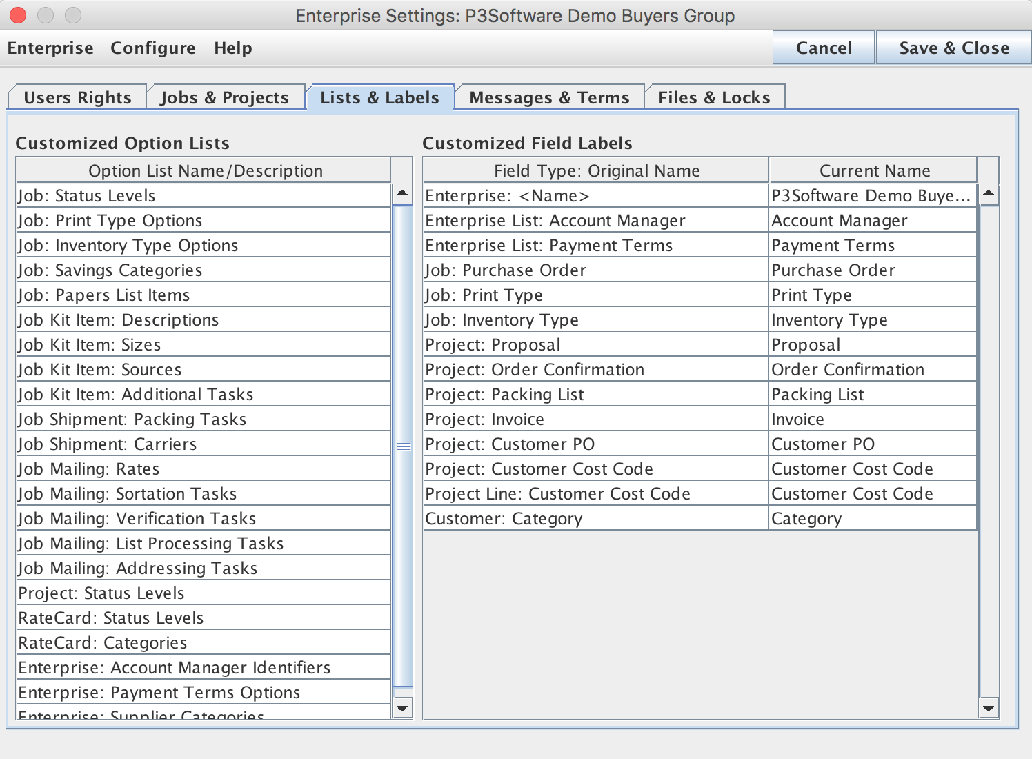 Enterprise Settings Window / List & Labels Tab
