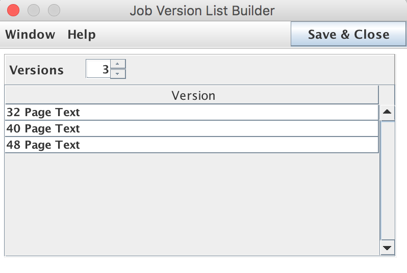 Job Version List Builder window