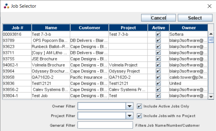 Job Selector Pop-Up window from the Project Manager window / Jobs tab / Add button