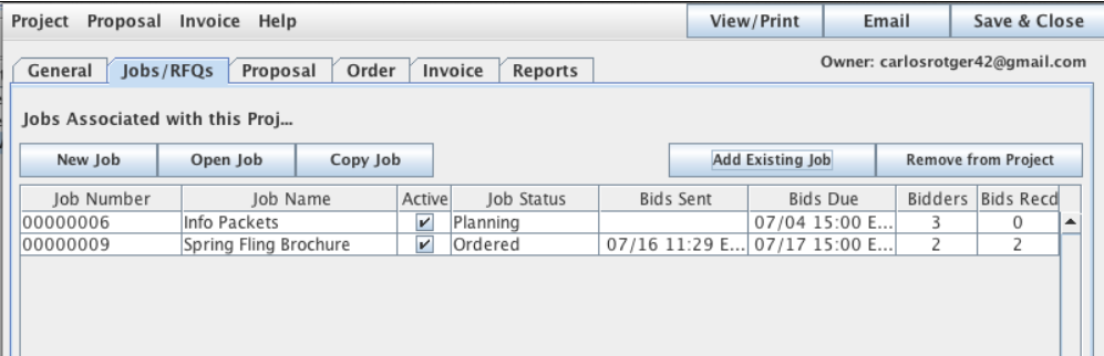 Project Manager showing the Job tab pane