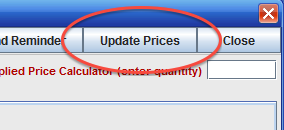 The Update Prices button as seen in the Compare Bids window.