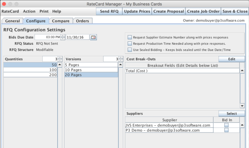 The RateCard Manager's Configure tab in P3Expeditor.