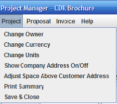 Project Menu items shown in the Project Manager window