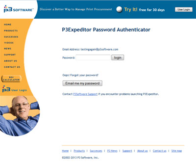 The P3Expeditor Password Authentication web page