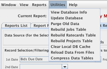 The Database Menu items from the Reporting System menu item in the Reports menu in the Job List window