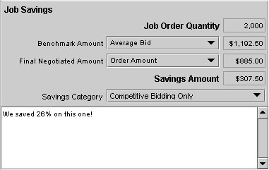 Job Savings Panel located on the Notes & History tab pane in the Job Master window