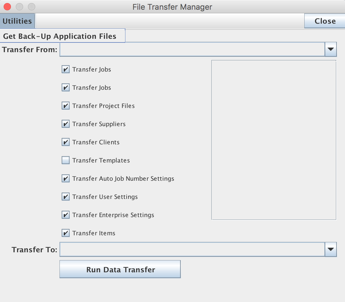 "File Transfer Manager window from the ""Transfer Data Files"" menu item in the Enterprise menu from the Enterprise Settings window"