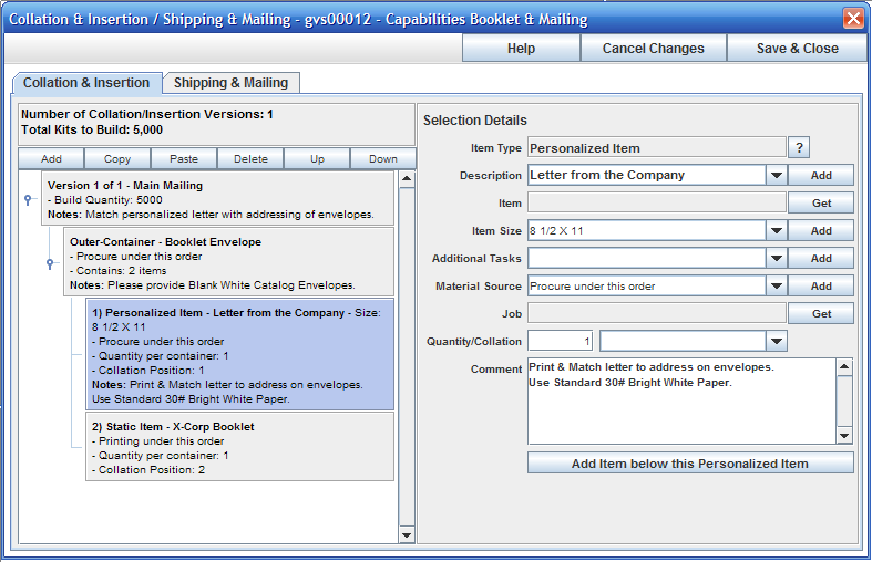 Job Master window showing the Collation & Insertion window with the Personalized Item highlighted