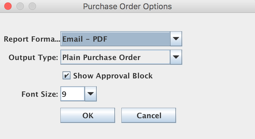 "Purchase Order Options from the Job List panel / Job Master window / Order menu / View/Send/Print menu / ""Purchase Order"" menu item"