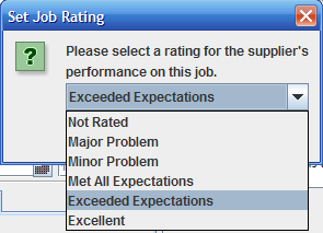 Set Job Rating Window with dropdown