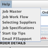 Help menu from the Job Master window