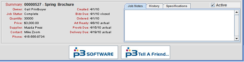 Active Jobs checkbox in Summary section of Job List panel
